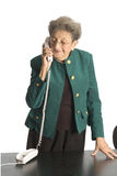 Business woman mature on phone. Smiling on telephone mature business woman attractive stock image