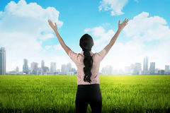 Business woman on the meadow Royalty Free Stock Images