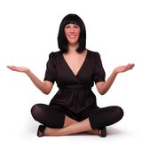 Business woman meditating Stock Photo