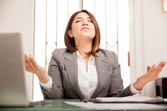 Business woman meditating Stock Image