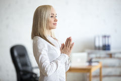 Business woman meditating Stock Photography