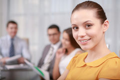 Business woman at the meeting stock photography