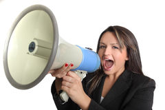 Business woman and megaphone Stock Photos