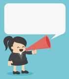 Business Woman with a megaphone and bubble Royalty Free Stock Photography