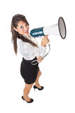 Business woman and megaphone Royalty Free Stock Photos