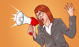 Business woman and megaphone Stock Photo