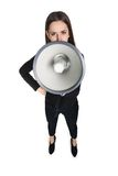 Business woman with megaphone Stock Images