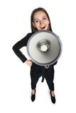 Business woman with megaphone Royalty Free Stock Images