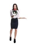 Business woman with megaphone Stock Photo