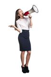 Business woman with megaphone Royalty Free Stock Image