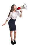 Business woman with megaphone Royalty Free Stock Photos