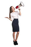Business woman with megaphone Stock Image