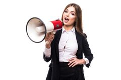 Business woman with megaphone yelling and screaming isolated on white background with suit Royalty Free Stock Photos