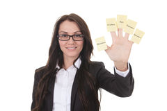 Business woman with memo on her hand Royalty Free Stock Image