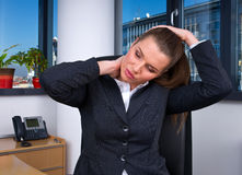 Business woman with migraine Royalty Free Stock Image