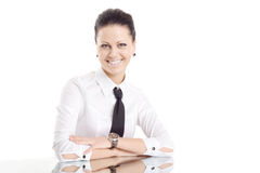Business woman mirror table smile Royalty Free Stock Images