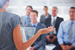 Business woman misunderstanding. Rear view of Business woman misunderstanding Royalty Free Stock Images
