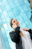 Business woman with mobile Stock Images