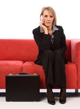 Business woman on mobile phone. While sitting Stock Photos