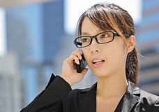 Business woman with mobile phone Stock Images