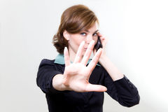 Business woman with mobile phone. Picture of a business woman with mobile phone Royalty Free Stock Image