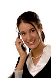 Business woman on a mobile phone Stock Images