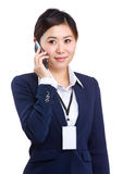 Business woman with mobile phone. Isolated on white Royalty Free Stock Images