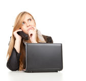 Business woman with mobile phone and laptop Royalty Free Stock Photos