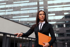 Business woman at modern building background Stock Photo