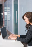 Business woman in a modern office. Business woman laptop in modern office Royalty Free Stock Images