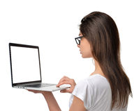 Business woman with modern popular laptop notebook thin and ligh Royalty Free Stock Photo