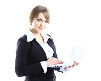 Business woman with modern popular laptop Royalty Free Stock Image