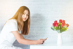 Business woman Modern. With using mobile Stock Photography