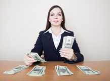Business woman with money Stock Photography