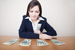 Business woman with money Stock Images