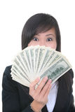 Business Woman with Money royalty free stock image