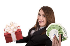 Business woman with money and gift, box. Royalty Free Stock Image