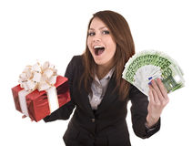Business woman with money and gift box. Isolated Royalty Free Stock Photos