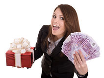 Business woman with money, gift box,. Isolated. Royalty Free Stock Photos