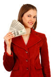 Business woman with money. Isolated on white. Royalty Free Stock Photos