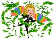 Business woman and Money rain Stock Image