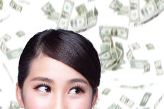 Business woman with money rain Royalty Free Stock Photography