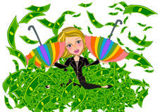 Business woman and Money rain  Royalty Free Stock Photography
