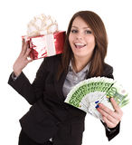 Business woman with money,red christmas box. Royalty Free Stock Images