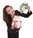 Business woman with money,red christmas box. Stock Photo