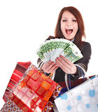 Business woman with money and shopping bag. Royalty Free Stock Photography