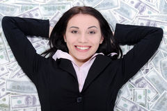 Business woman and money Royalty Free Stock Photo