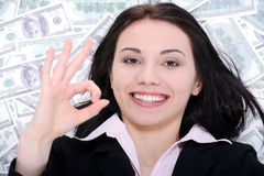 Business woman and money Royalty Free Stock Images