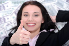 Business woman and money Royalty Free Stock Image