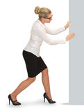Business woman move pieces. Stock Photo